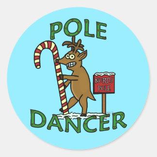 Funny Dancer Christmas Reindeer Pun Classic Round Sticker