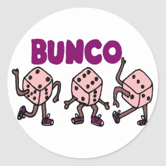 Funny Dancing Bunco Dice Classic Round Sticker