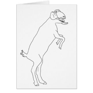 Funny dancing goat novelty art greetings card