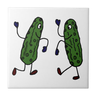 Funny Dancing Pickles Art Small Square Tile
