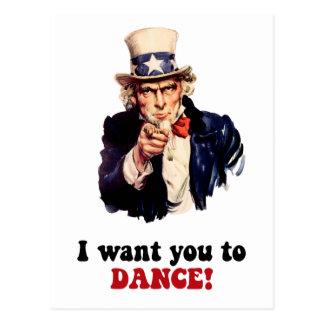 Funny dancing postcard