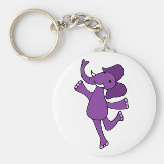Funny Dancing Purple Elephant Key Ring