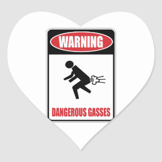 Funny Dangerous Gasses Heart Stickers