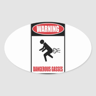 Funny Dangerous Gasses Oval Sticker