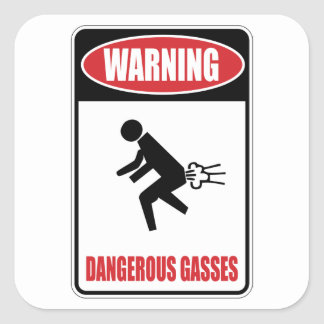 Funny Dangerous Gasses Square Stickers