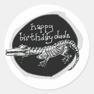 funny dark birthday message from cartoon crocodile round sticker