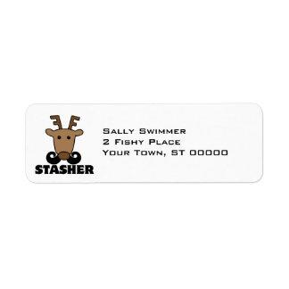 funny dasher stasher mustache reindeer return address label