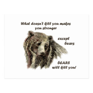 Funny De Motivational Quote Bears kill you Postcard