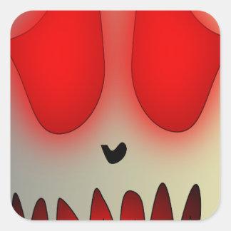Funny Dead Evil Sad Skull Square Sticker