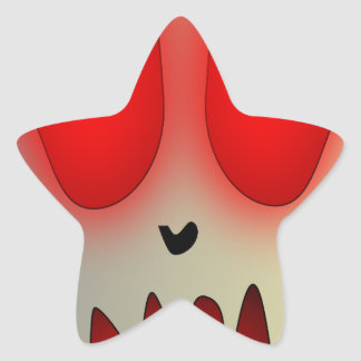 Funny Dead Evil Sad Skull Star Sticker