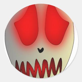 Funny Dead Evil Sad Skull Round Stickers