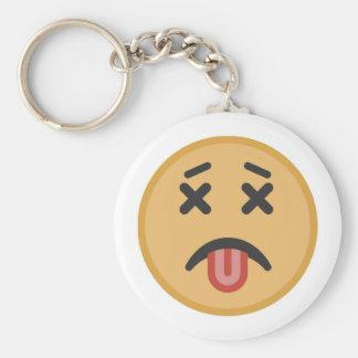 Funny Dead Hangover Tongue Emoji Cartoon Key Ring