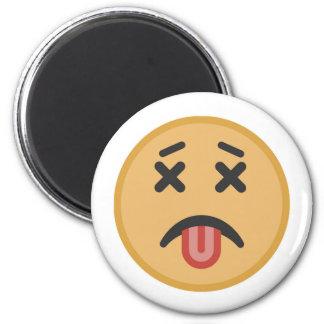 Funny Dead Hangover Tongue Emoji Cartoon Magnet