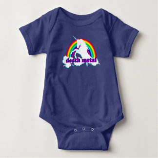 Funny Death Metal Unicorn and Rainbow Baby Bodysuit