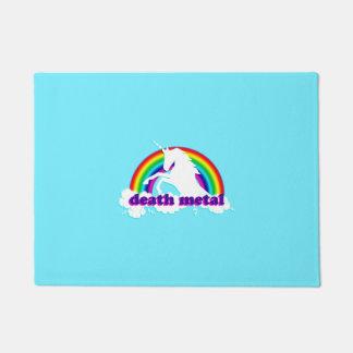 Funny Death Metal Unicorn and Rainbow Doormat