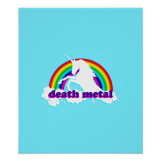 Funny Death Metal Unicorn and Rainbow Poster