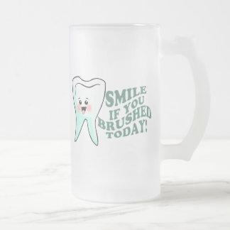 Funny Dental Hygienist Frosted Glass Beer Mug