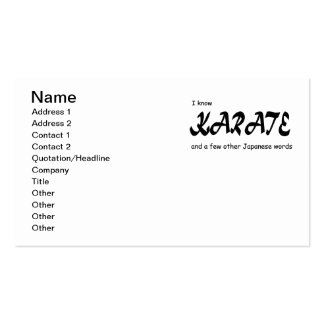 Funny Design. I know Karate + other Japanese Words Pack Of Standard Business Cards