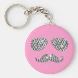 Funny Diamond Mustache With Glasses Basic Round Button Key Ring