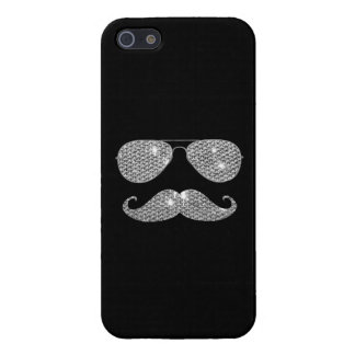 Funny Diamond Mustache With Glasses Case For iPhone 5