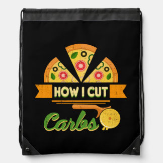 Funny Diet Humor - How I Cut Carbs - Pizza Novelty Drawstring Bag