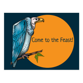 Funny Dinner Party Invitation with Hungry Vulture Postcard