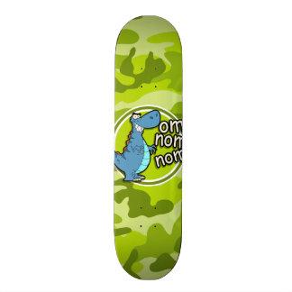 Funny Dinosaur; bright green camo, camouflage 21.6 Cm Old School Skateboard Deck