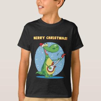 Funny Dinosaur Plays Guitar On Christmas T-Shirt