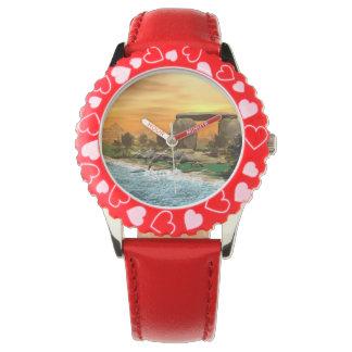 Funny dinosaur running on the beach wristwatches