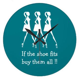 Funny Diva Shoe Buyers Large Clock