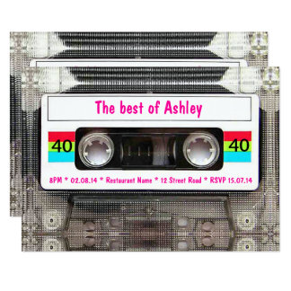 Funny DJ 80s Cassette Tape 40th Birthday Card