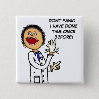 Funny Doctor Cartoon 15 Cm Square Badge