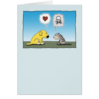 Funny Dog and Cat Love and Hate Card