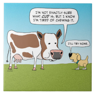 Funny Dog and Cow Tired of Cud Ceramic Tile
