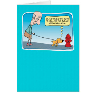 Funny Dog and Fire Hydrant birthday card