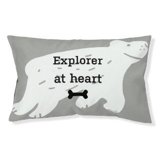 "Funny dog bed ""Explorer at heart"""