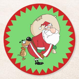 Funny Dog Biting Santa Christmas Round Paper Coaster