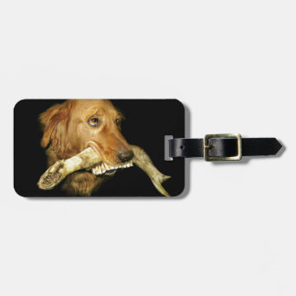 Funny Dog Carrying Horse Teeth Bone Luggage Tag