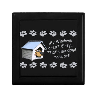 Funny Dog Cartoon - My windows aren't dirty ... Small Square Gift Box