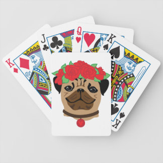 Funny dog. Cute pug with flower wreath Bicycle Playing Cards