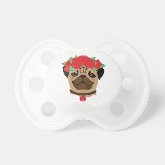 Funny dog. Cute pug with flower wreath Dummy