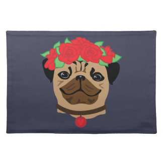 Funny dog. Cute pug with flower wreath Placemat