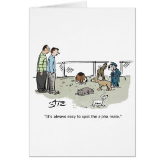 Funny dog in dog park greeting card. card