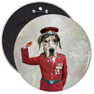 Funny dog in red uniform pinback buttons