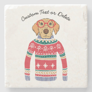 Funny Dog Lover Dog Wearing Ugly Christmas Sweater Stone Coaster