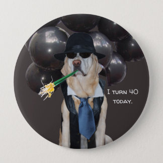Funny Dog Over the Hill Birthday Pin