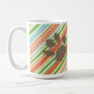 Funny Dog Owner Gift; Peach & Forest Green Mugs