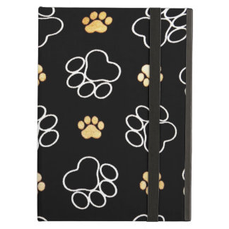Funny Dog Pawprints On Black, iPad Air Case