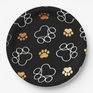 Funny Dog PawPrints On Black, Paper Plates
