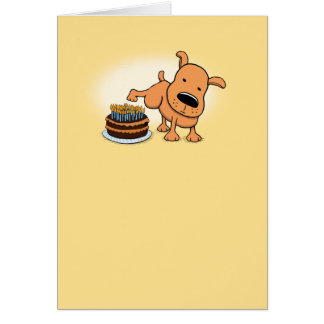 Funny Dog Peeing on Birthday Cake Card